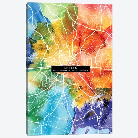 Berlin City Map Colorful Canvas Print #WDA47} by WallDecorAddict Canvas Art