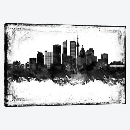 Toronto Black And White Framed Skylines Canvas Print #WDA480} by WallDecorAddict Art Print