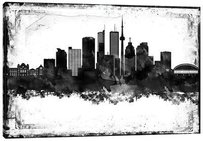 Toronto Black And White Framed Skylines Canvas Art Print