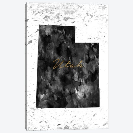 Utah Black And White Gold Canvas Print #WDA485} by WallDecorAddict Canvas Artwork