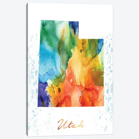 Utah State Colorful Canvas Print #WDA487} by WallDecorAddict Canvas Artwork