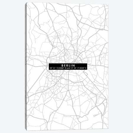 Berlin City Map Minimal Canvas Print #WDA48} by WallDecorAddict Art Print