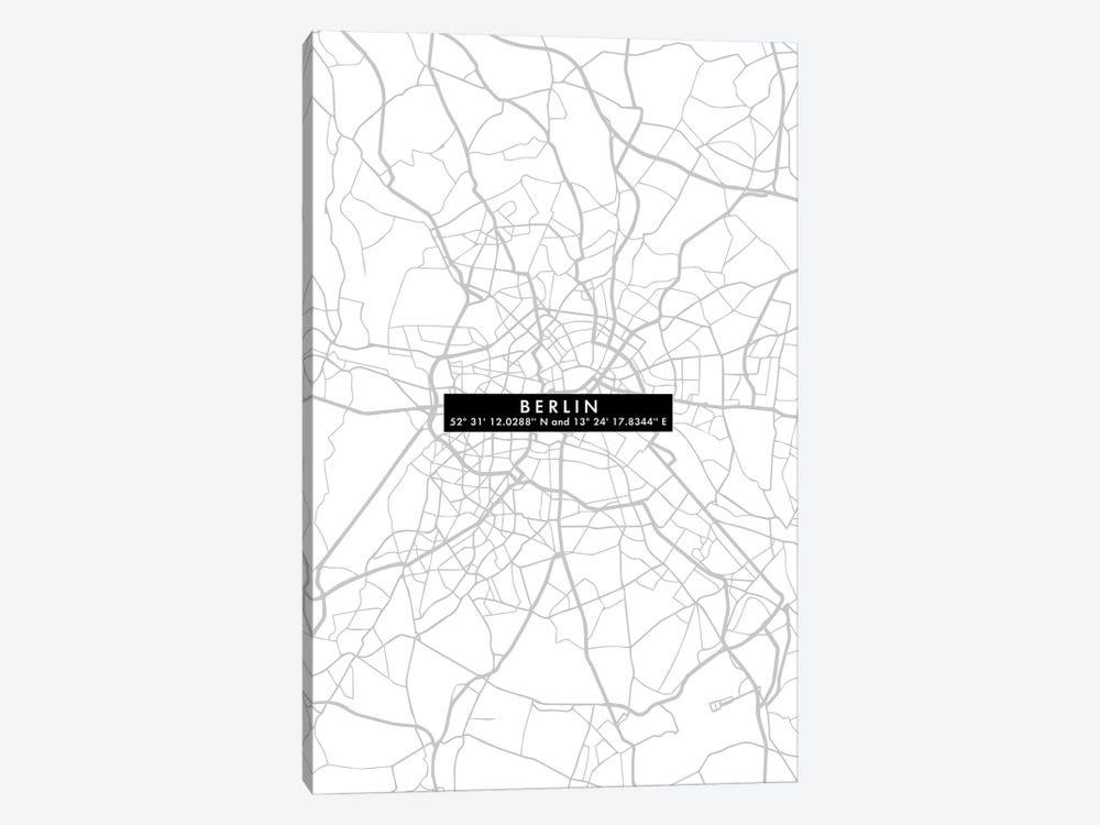 Berlin City Map Minimal by WallDecorAddict 1-piece Canvas Print