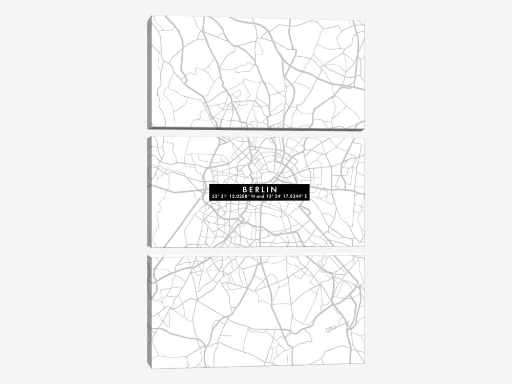 Berlin City Map Minimal by WallDecorAddict 3-piece Art Print