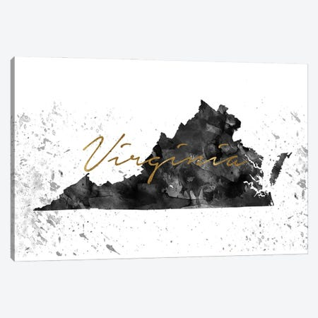 Virginia Black And White Gold Canvas Print #WDA495} by WallDecorAddict Canvas Art Print