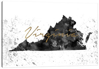 Virginia Black And White Gold Canvas Art Print
