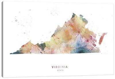 Virginia Watercolor State Map Canvas Art Print