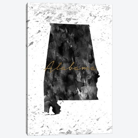 Alabama Black And White Gold Canvas Print #WDA4} by WallDecorAddict Art Print