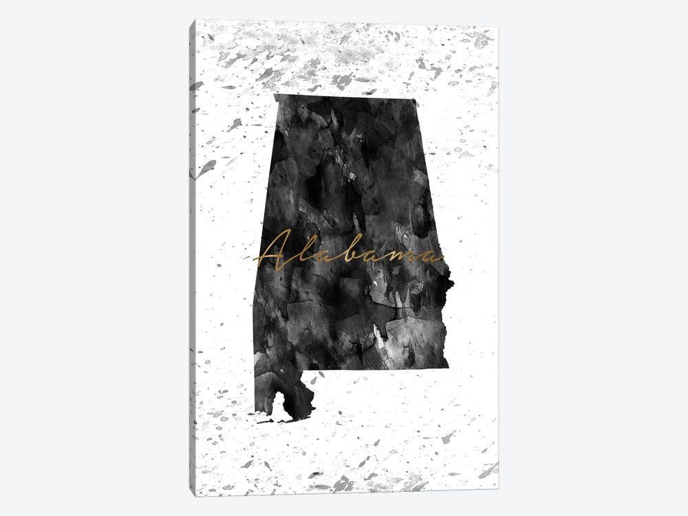 Alabama Black And White Gold by WallDecorAddict 1-piece Canvas Art Print
