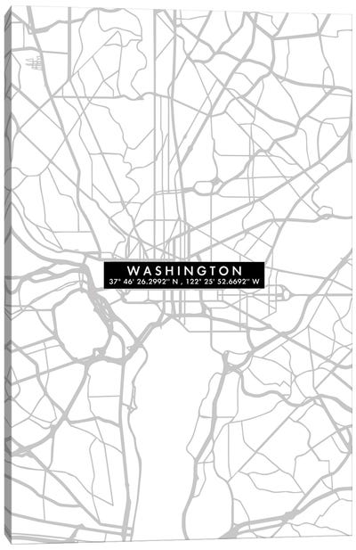 Washington Citymapminimal Canvas Art Print