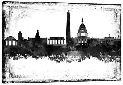 Washington Black And White Framed Skylines Canvas Art Print