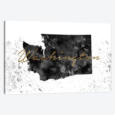 Washington Black And White Gold Canvas Print #WDA503} by WallDecorAddict Canvas Artwork