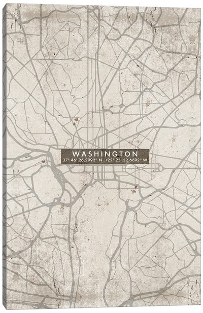 Washington City Map Abstract Canvas Art Print