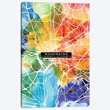 Washington City Map Colorful Canvas Print #WDA506} by WallDecorAddict Canvas Print