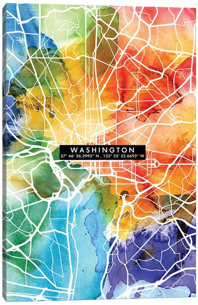 Washington City Map Colorful Canvas Art Print