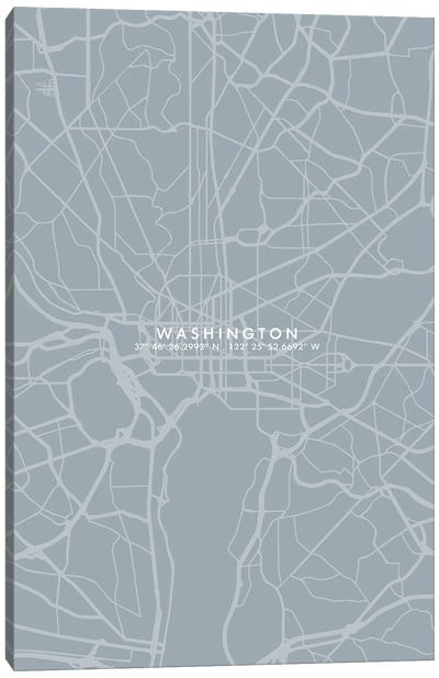 Washington City Map Simple Color Canvas Art Print