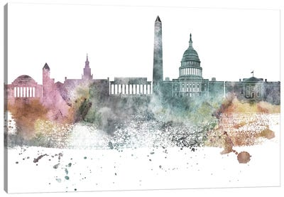 Washington Pastel Skylines Canvas Art Print