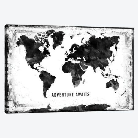 Black And White Framed World Map Canvas Print #WDA50} by WallDecorAddict Canvas Art
