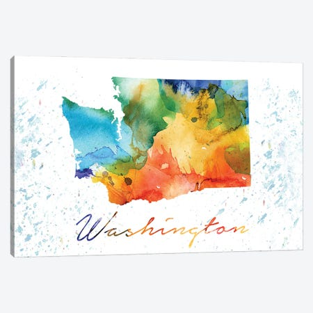 Washington State Colorful Canvas Print #WDA510} by WallDecorAddict Canvas Art Print