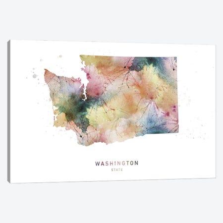 Washington Watercolor State Map Canvas Print #WDA511} by WallDecorAddict Art Print