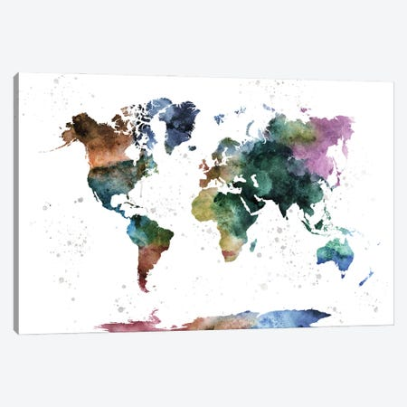 Watercolor World Map Canvas Print #WDA512} by WallDecorAddict Art Print