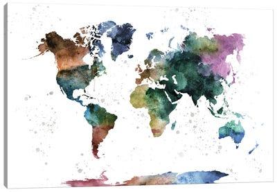 Watercolor World Map Canvas Art Print