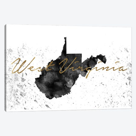 West Virginia Black And White Gold Canvas Print #WDA514} by WallDecorAddict Canvas Art