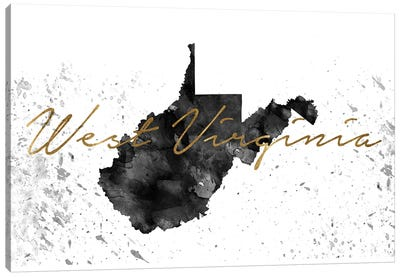 West Virginia Black And White Gold Canvas Art Print