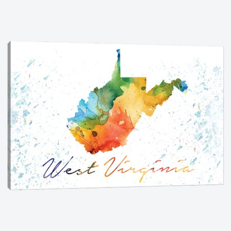 West Virginia State Colorful Canvas Print #WDA516} by WallDecorAddict Canvas Wall Art