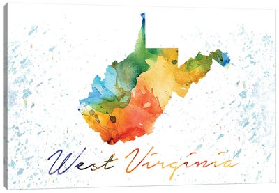 West Virginia State Colorful Canvas Art Print