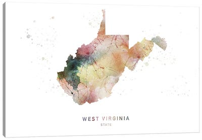 West Virginia Watercolor State Map Canvas Art Print