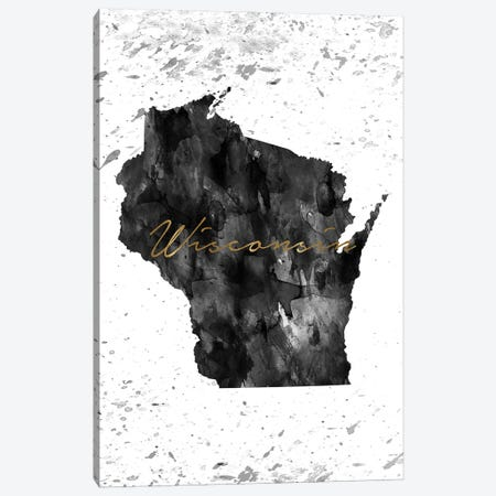 Wisconsin Black And White Gold Canvas Print #WDA519} by WallDecorAddict Canvas Print