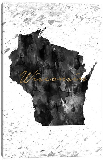 Wisconsin Black And White Gold Canvas Art Print
