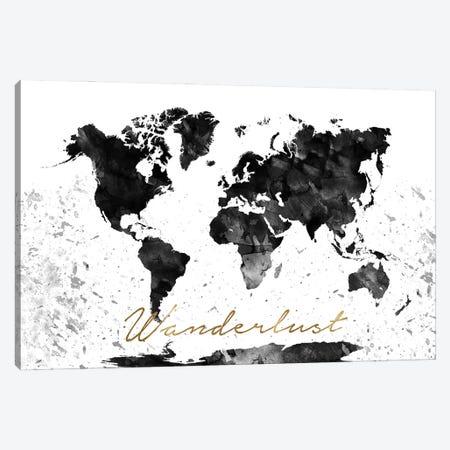Black And White World Map Wanderlust Canvas Print #WDA51} by WallDecorAddict Canvas Artwork