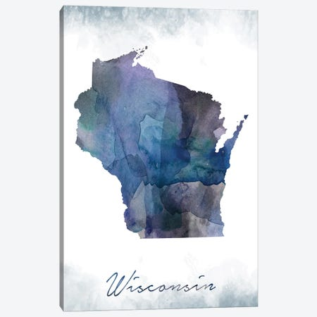 Wisconsin State Bluish Canvas Print #WDA520} by WallDecorAddict Canvas Art