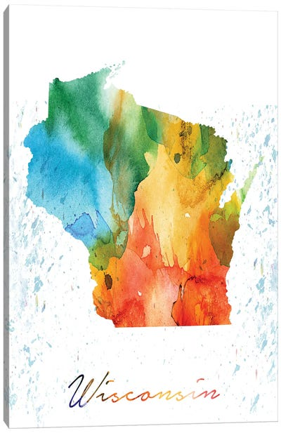 Wisconsin State Colorful Canvas Art Print