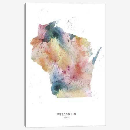 Wisconsin State Watercolor Canvas Print #WDA522} by WallDecorAddict Canvas Wall Art