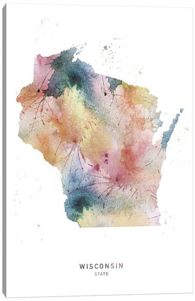 Wisconsin State Watercolor Canvas Art Print