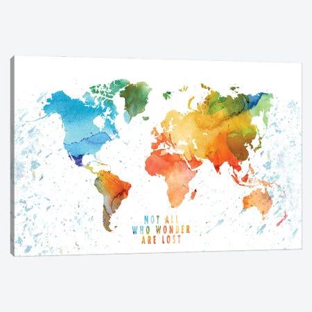 Wonder World Colorfulmap Canvas Print #WDA523} by WallDecorAddict Canvas Art