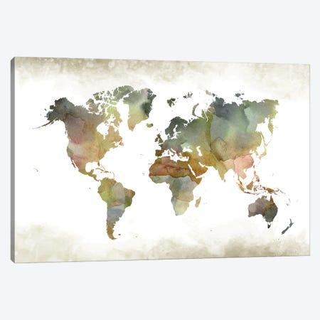 World Greenishmap Canvas Print #WDA524} by WallDecorAddict Canvas Art Print