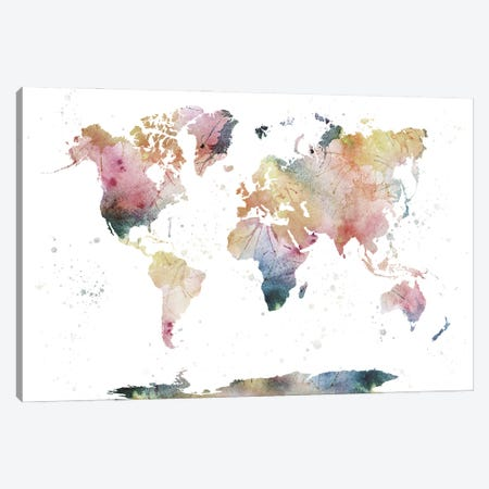 World Map Nature Watercolor Canvas Print #WDA525} by WallDecorAddict Canvas Art Print