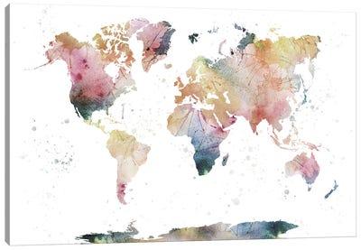 World Map Nature Watercolor Canvas Art Print
