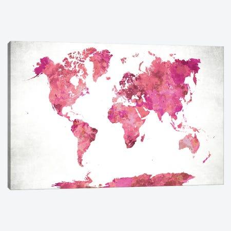 World Map Pink Canvas Print #WDA526} by WallDecorAddict Art Print