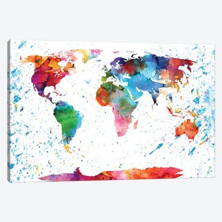 World Map Colorful Canvas Print #WDA527} by WallDecorAddict Canvas Art Print