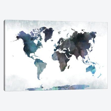 Bluish World Map Canvas Print #WDA52} by WallDecorAddict Canvas Art