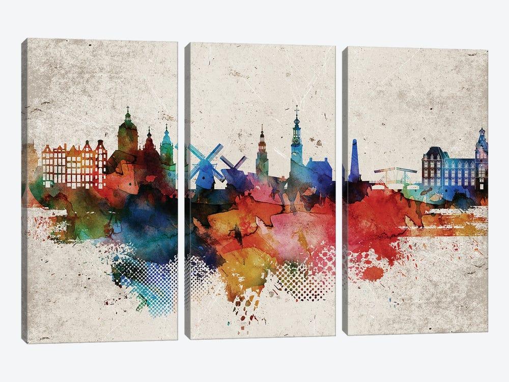 Amsterdam Abstract by WallDecorAddict 3-piece Canvas Print