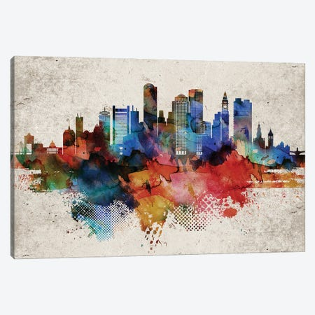 Boston Abstract Canvas Print #WDA53} by WallDecorAddict Canvas Wall Art
