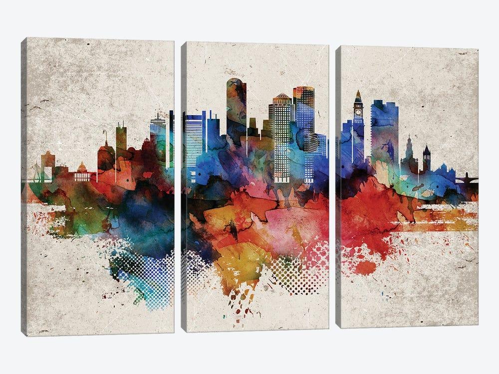 Boston Abstract by WallDecorAddict 3-piece Art Print