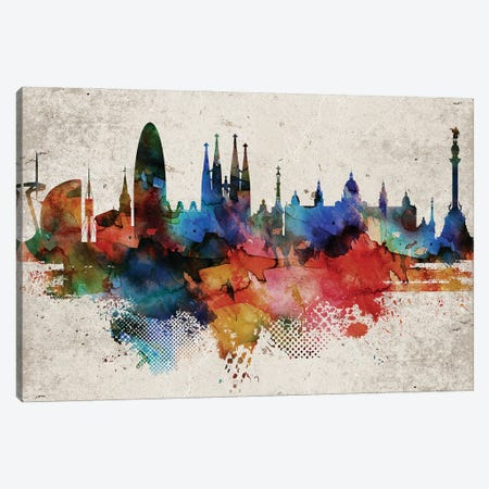 Barcelona Abstract Canvas Print #WDA541} by WallDecorAddict Canvas Art