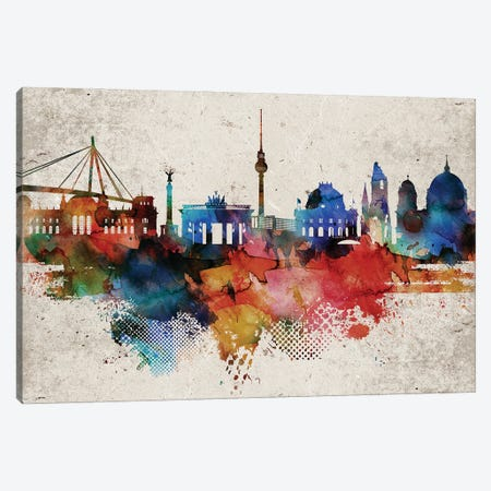 Berlin Colorful Canvas Print #WDA544} by WallDecorAddict Canvas Art Print